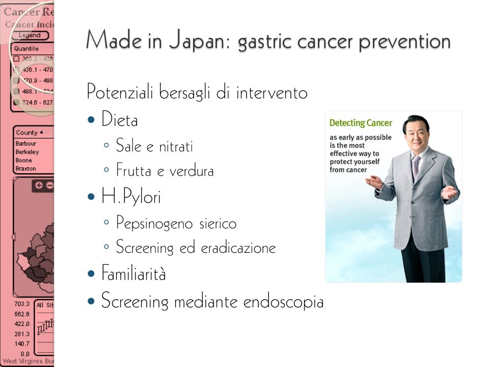 Made in Japan: gastric cancer prevention Potenziali bersagli di intervento Dieta Sale e nitrati Frutta e verdura H.Pylori Pepsinogeno sierico Screenin