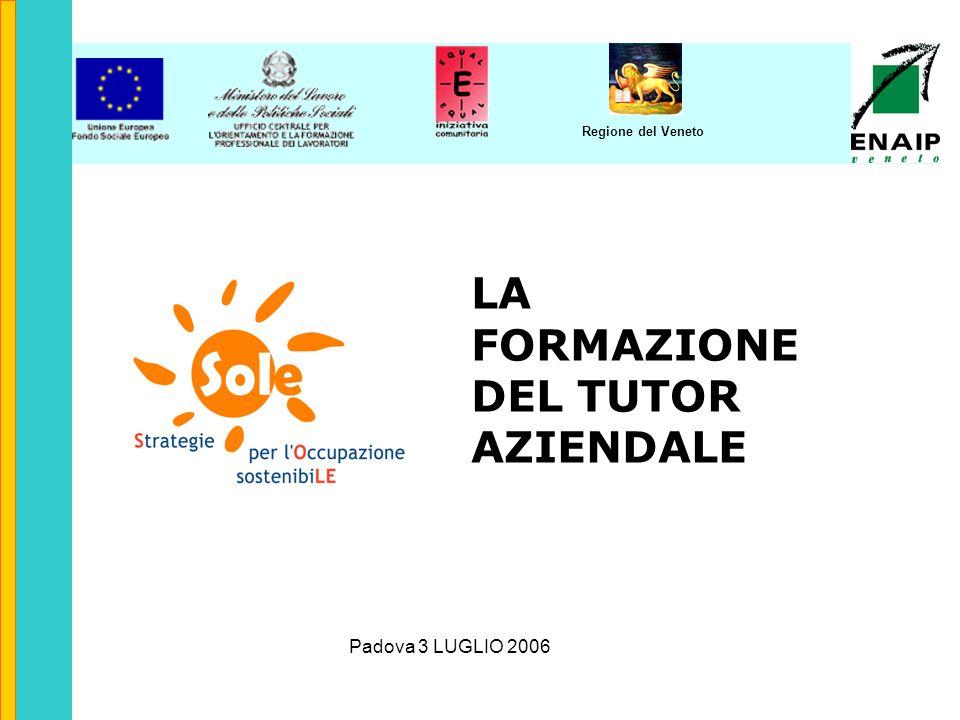 Regione del Veneto LA FORMAZIONE DEL TUTOR AZIENDALE Padova 3 LUGLIO 2006