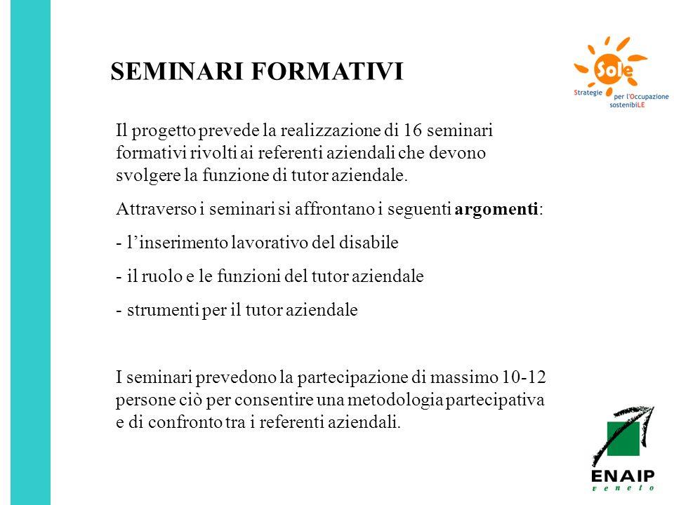 SEMINARI FORMATIVI Il progetto prevede la realizzazione di 16 seminari formativi rivolti ai referenti aziendali che devono svolgere la funzione di tut