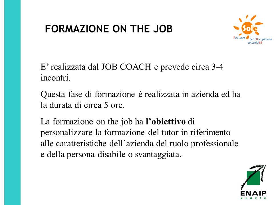 FORMAZIONE ON THE JOB E realizzata dal JOB COACH e prevede circa 3-4 incontri. Questa fase di formazione è realizzata in azienda ed ha la durata di ci