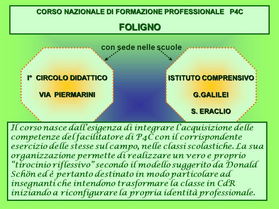 CORSO NAZIONALE DI FORMAZIONE PROFESSIONALE P4C FOLIGNO con sede nelle scuole I° CIRCOLO DIDATTICO VIA PIERMARINI ISTITUTO COMPRENSIVO G.GALILEI S. ER