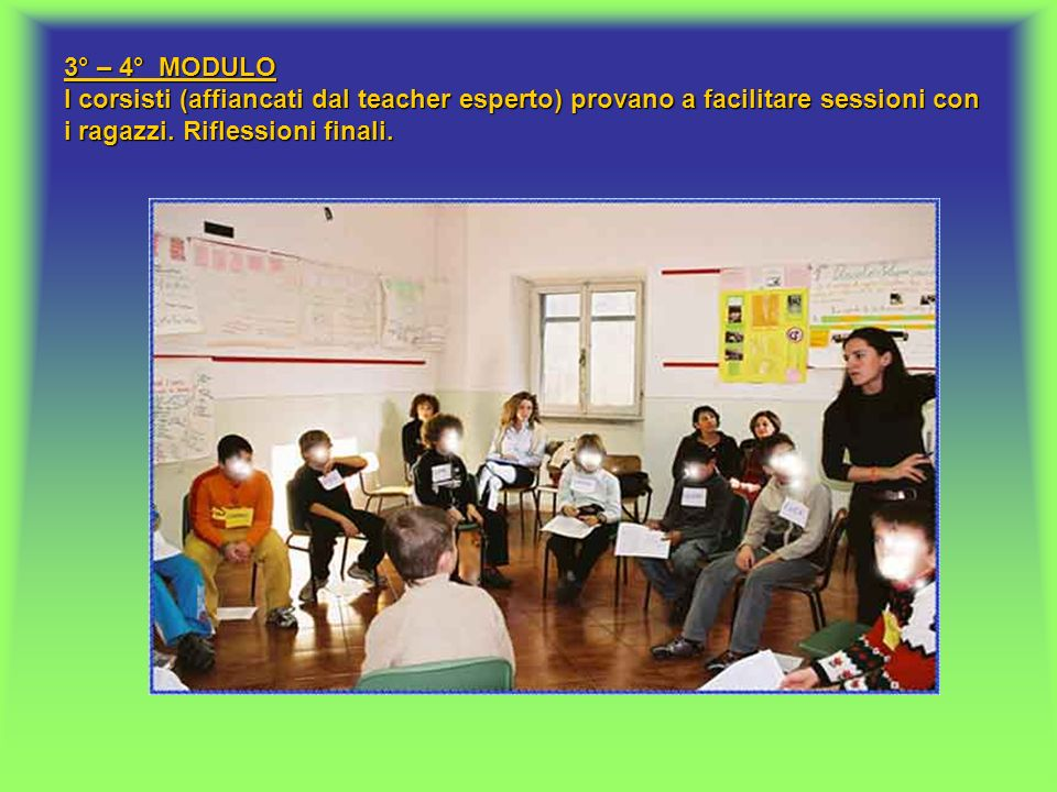 3° – 4° MODULO I corsisti (affiancati dal teacher esperto) provano a facilitare sessioni con i ragazzi. Riflessioni finali.