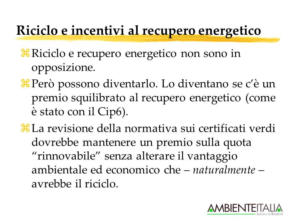 Riciclo e incentivi al recupero energetico zRiciclo e recupero energetico non sono in opposizione.