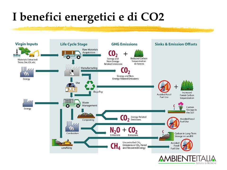 Benefici energetici e di CO2: osservazioni chiave zSu scala globale i benefici energetici e di emissioni CO2 sono indiscutibili e sostanzialmente generalizzabili (anche se con differenze) zI benefici energetici sono calcolabili entro un certo range di approssimazione con riferimento alla materia prima (non al prodotto finito) zI benefici di CO2 sono calcolabili solo assumendo almeno la provenienza della materia sostituita : alcuni cicli (tipicamente il cartario) sostituiscono al 95% importazioni