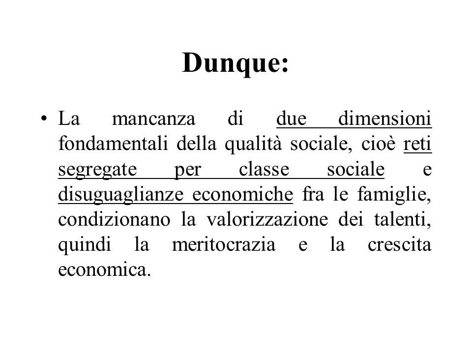 Dunque: La mancanza di due dimensioni fondamentali della qualità sociale, cioè reti segregate per classe sociale e disuguaglianze economiche fra le fa