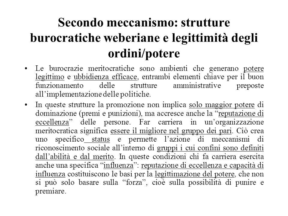 Secondo meccanismo: strutture burocratiche weberiane e legittimità degli ordini/potere Le burocrazie meritocratiche sono ambienti che generano potere
