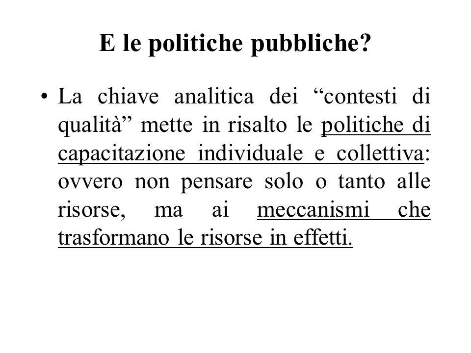 E le politiche pubbliche? La chiave analitica dei contesti di qualità mette in risalto le politiche di capacitazione individuale e collettiva: ovvero