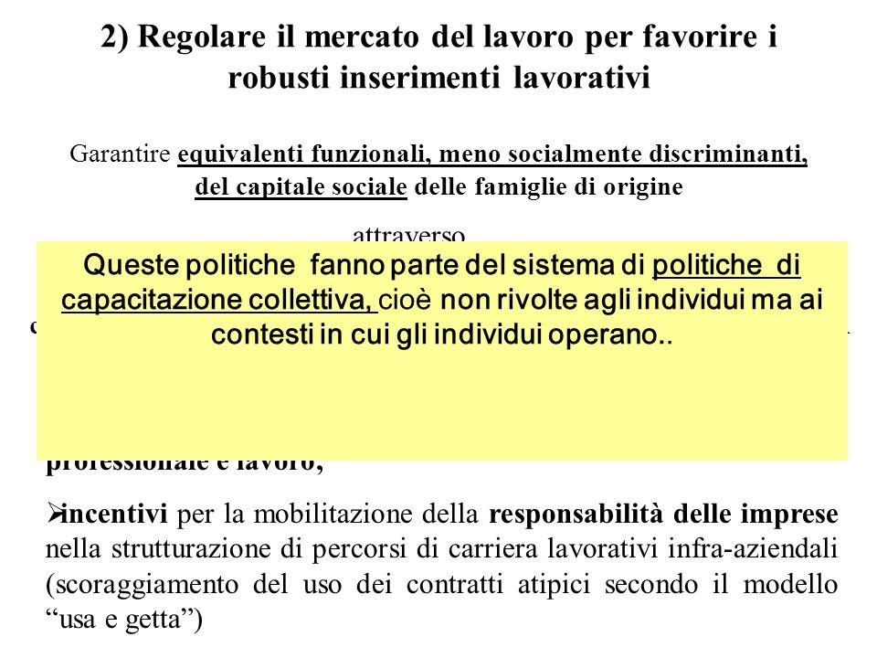 2) Regolare il mercato del lavoro per favorire i robusti inserimenti lavorativi Garantire equivalenti funzionali, meno socialmente discriminanti, del
