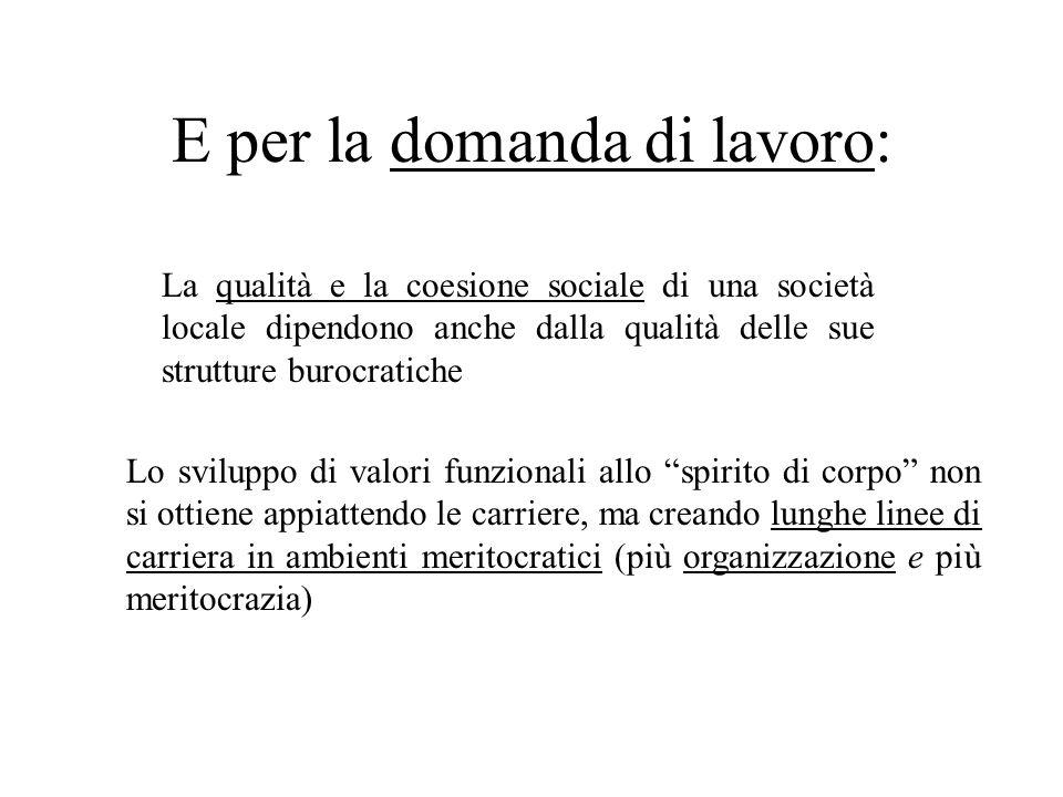 E per la domanda di lavoro: La qualità e la coesione sociale di una società locale dipendono anche dalla qualità delle sue strutture burocratiche Lo s