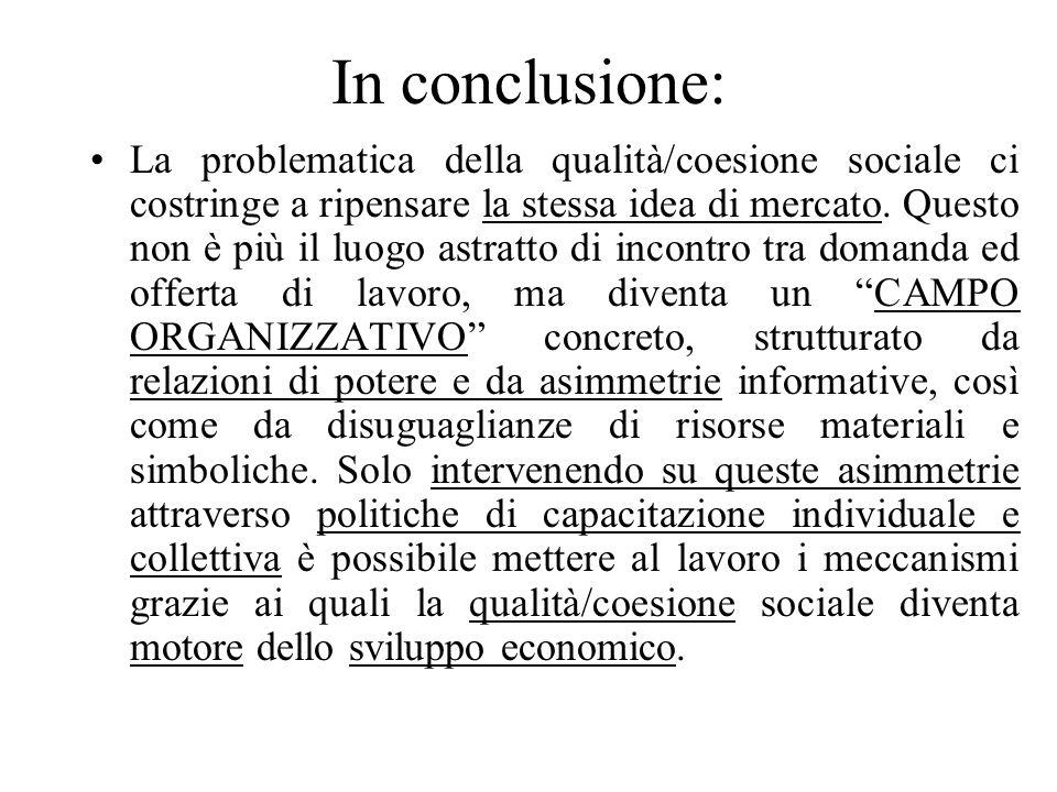 In conclusione: La problematica della qualità/coesione sociale ci costringe a ripensare la stessa idea di mercato. Questo non è più il luogo astratto