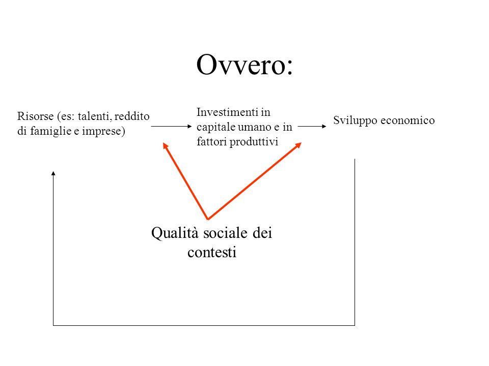 Ovvero: Risorse (es: talenti, reddito di famiglie e imprese) Sviluppo economico Qualità sociale dei contesti Investimenti in capitale umano e in fatto