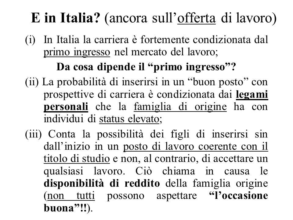E in Italia? (ancora sullofferta di lavoro) (i)In Italia la carriera è fortemente condizionata dal primo ingresso nel mercato del lavoro; Da cosa dipe