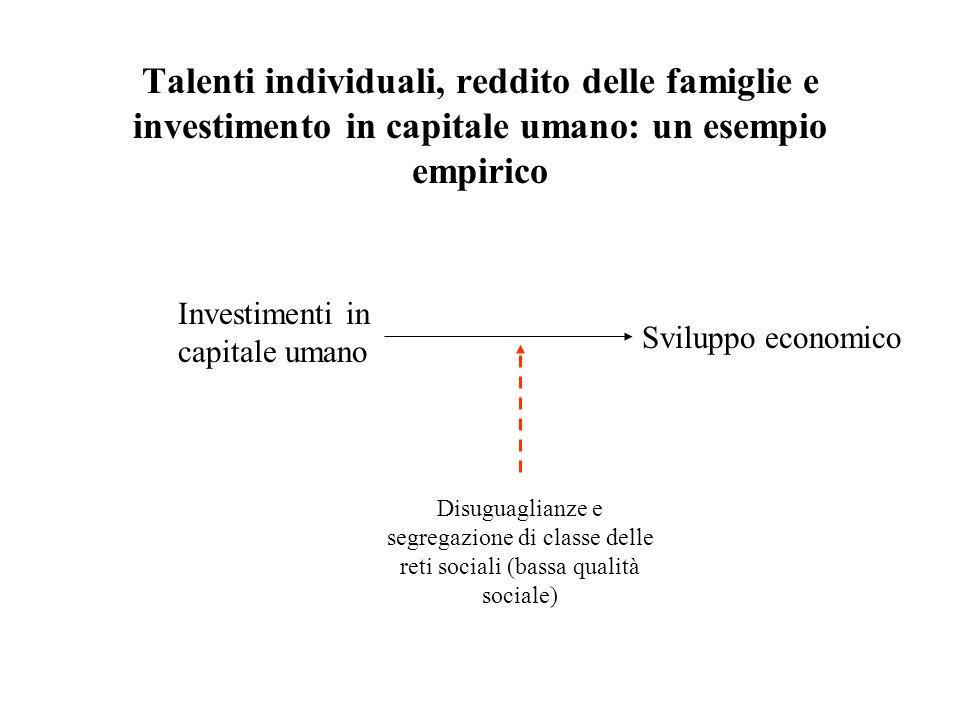 Talenti individuali, reddito delle famiglie e investimento in capitale umano: un esempio empirico Investimenti in capitale umano Disuguaglianze e segr