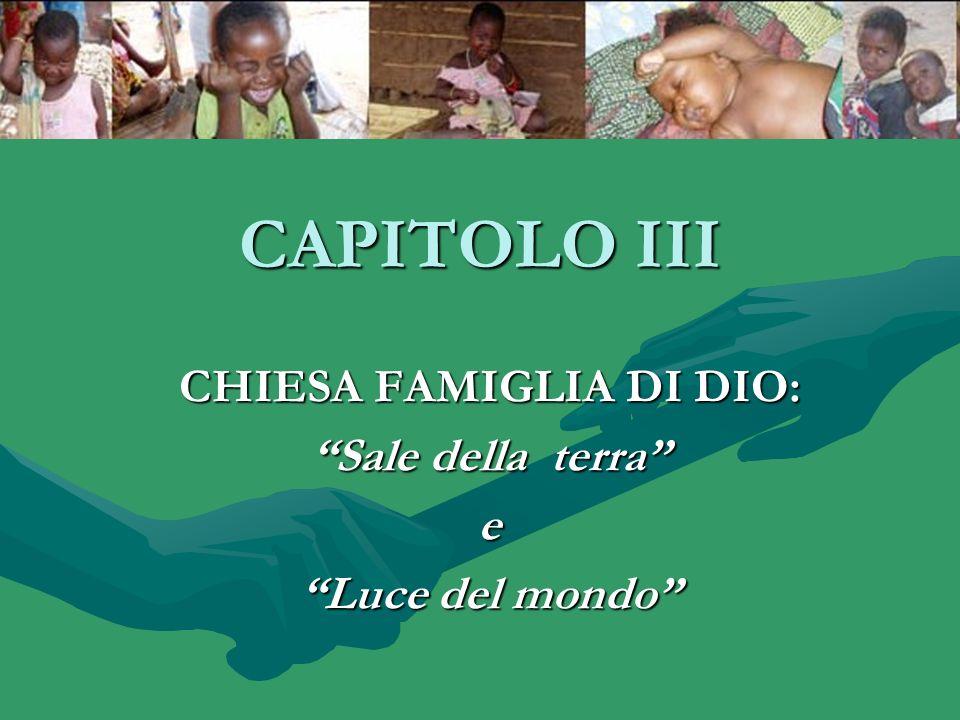 CAPITOLO III CHIESA FAMIGLIA DI DIO: Sale della terra e Luce del mondo
