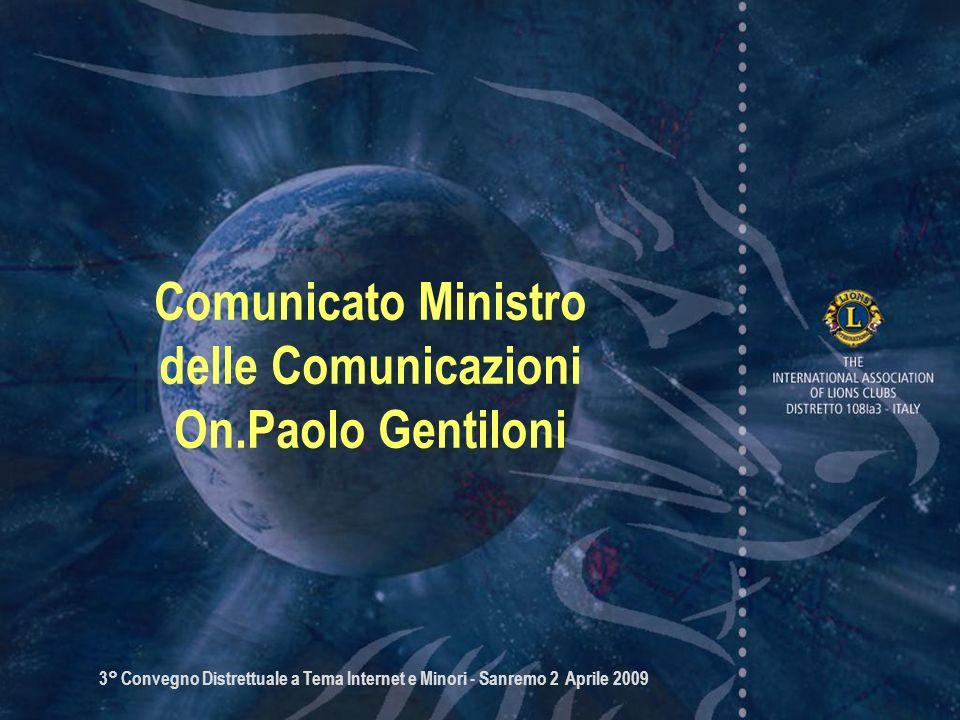 3° Convegno Distrettuale a Tema Internet e Minori - Sanremo 2 Aprile 2009 Video presentazione Convegno Vice Presidente Commissione Europea Franco Frattini