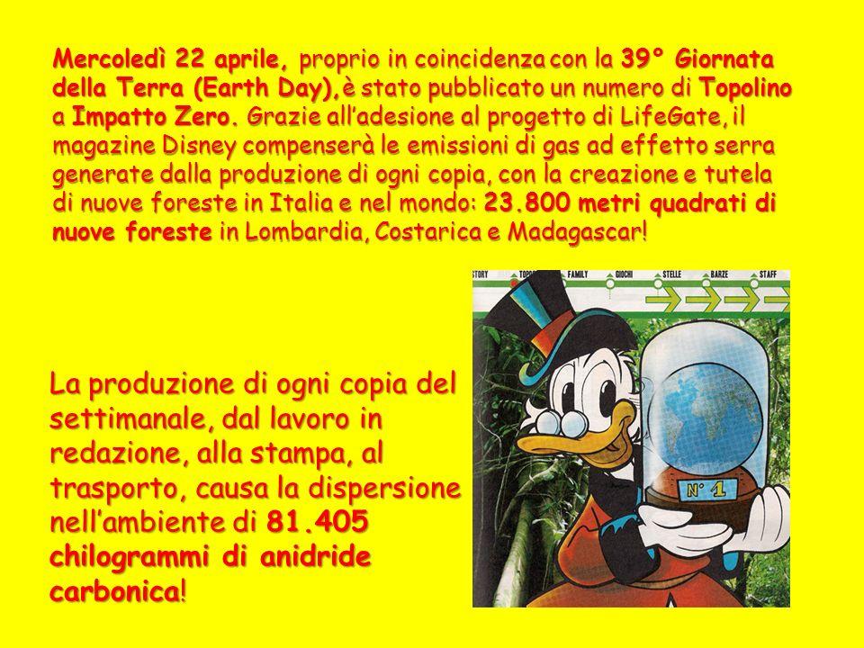 Mercoledì 22 aprile, proprio in coincidenza con la 39° Giornata della Terra (Earth Day),è stato pubblicato un numero di Topolino a Impatto Zero.