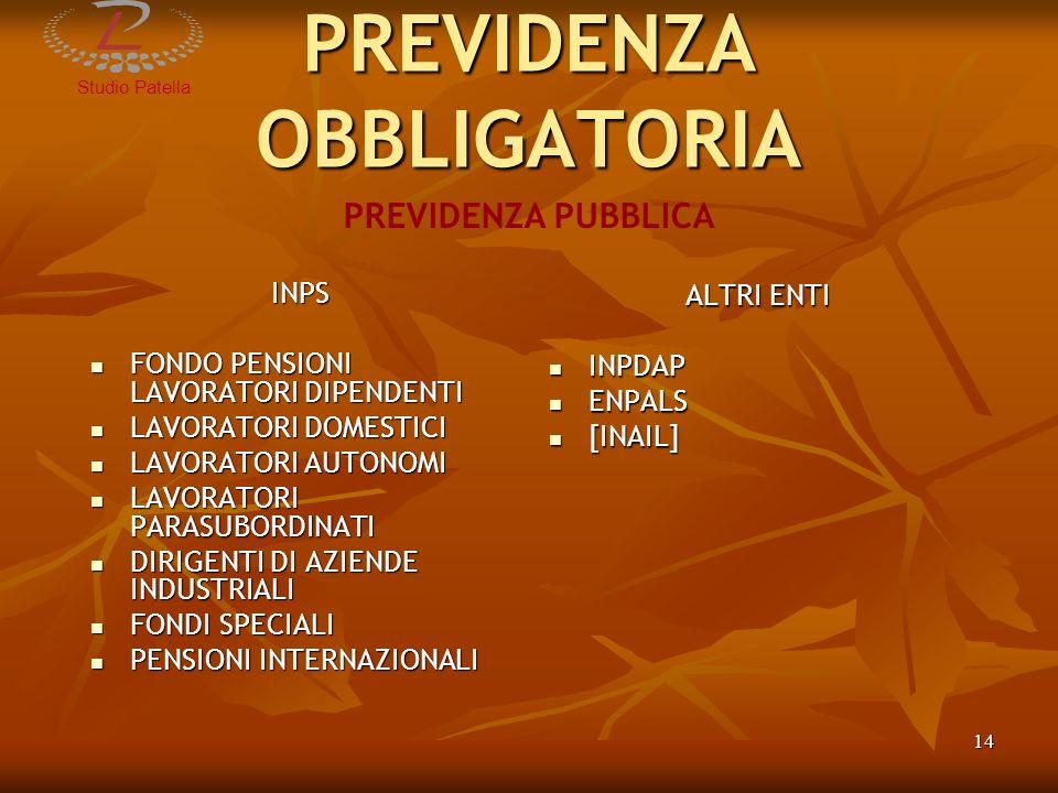 StudioPatella 15 PREVIDENZA OBBLIGATORIA ENTI EX D.