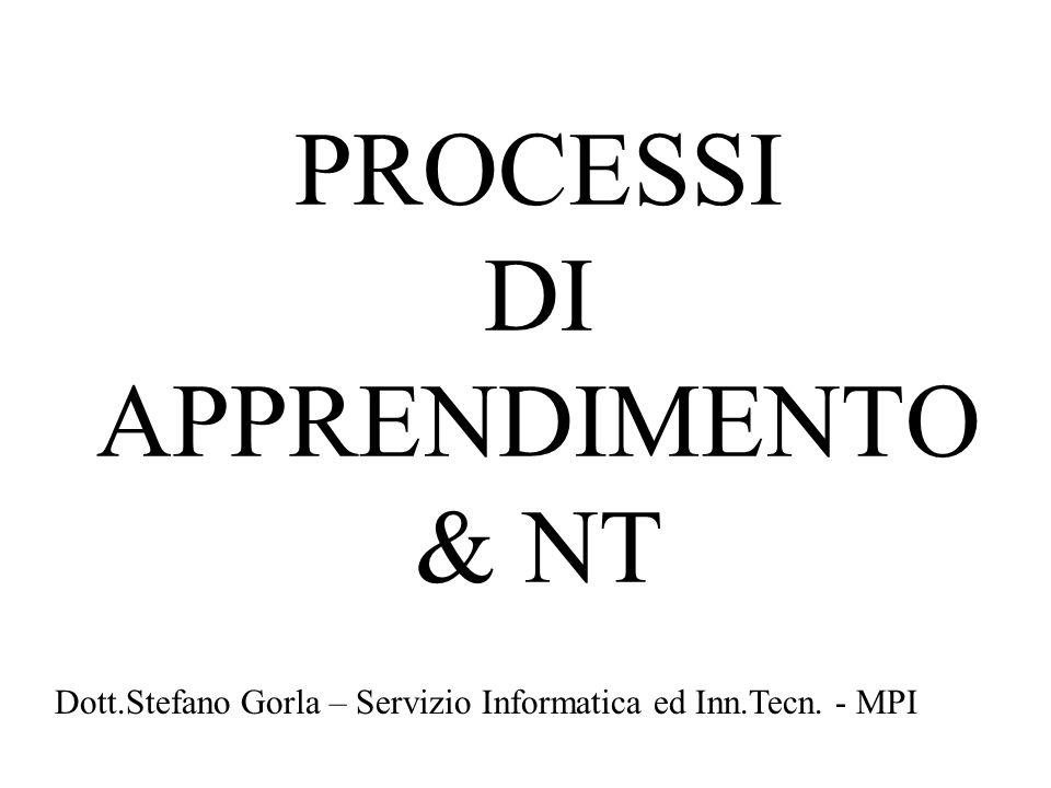 PROCESSI DI APPRENDIMENTO & NT Dott.Stefano Gorla – Servizio Informatica ed Inn.Tecn. - MPI