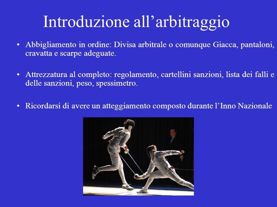 Introduzione allarbitraggio Abbigliamento in ordine: Divisa arbitrale o comunque Giacca, pantaloni, cravatta e scarpe adeguate. Attrezzatura al comple