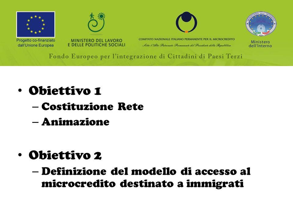 Obiettivo 1 – Costituzione Rete – Animazione Obiettivo 2 – Definizione del modello di accesso al microcredito destinato a immigrati