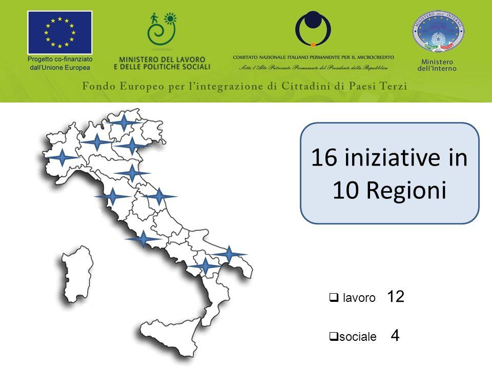 16 iniziative in 10 Regioni lavoro 12 sociale 4