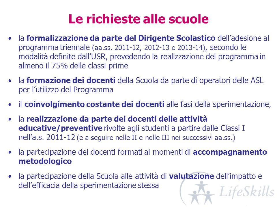 Le richieste alle scuole la formalizzazione da parte del Dirigente Scolastico delladesione al programma triennale (aa.ss. 2011-12, 2012-13 e 2013-14),