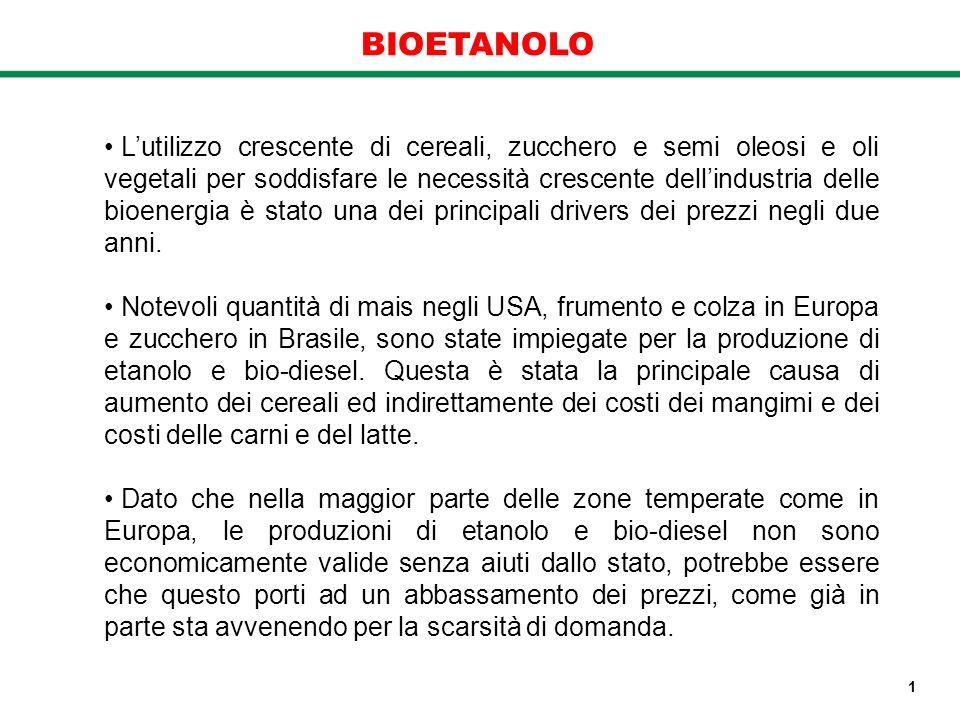 BIOETANOLO Lutilizzo crescente di cereali, zucchero e semi oleosi e oli vegetali per soddisfare le necessità crescente dellindustria delle bioenergia