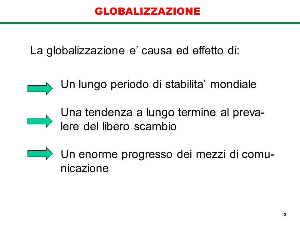 La globalizzazione e causa ed effetto di: Un lungo periodo di stabilita mondiale Una tendenza a lungo termine al preva- lere del libero scambio Un eno