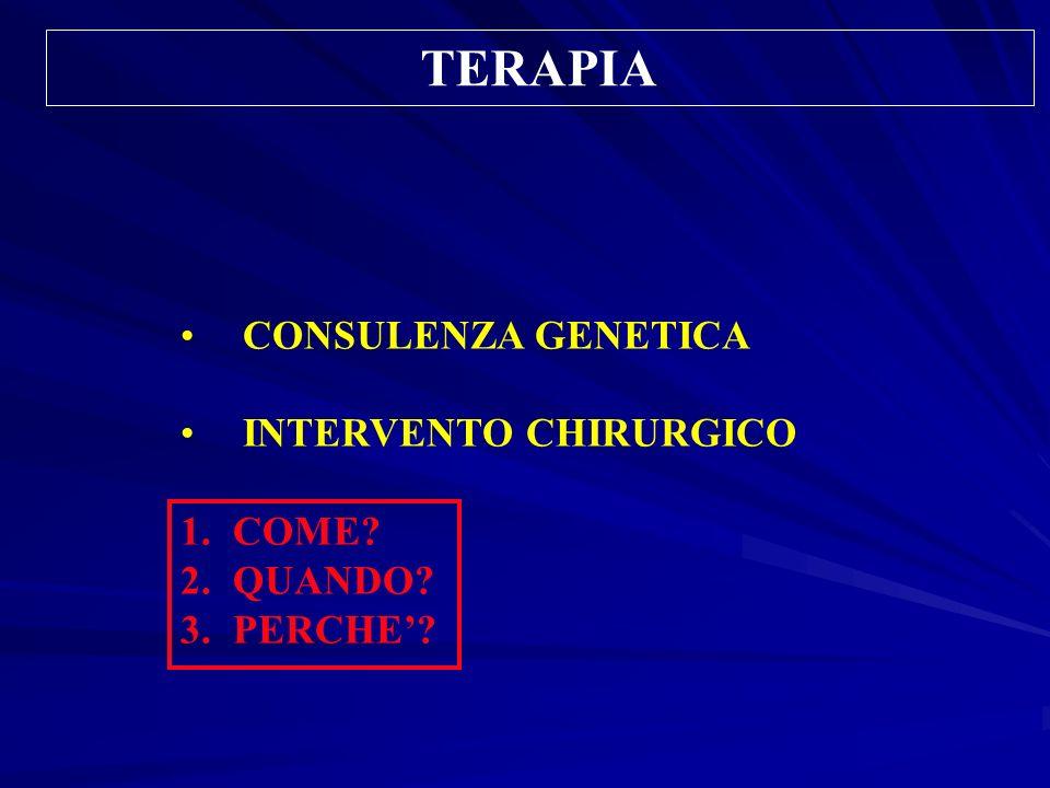 TERAPIA CONSULENZA GENETICA INTERVENTO CHIRURGICO 1.COME? 2.QUANDO? 3.PERCHE?
