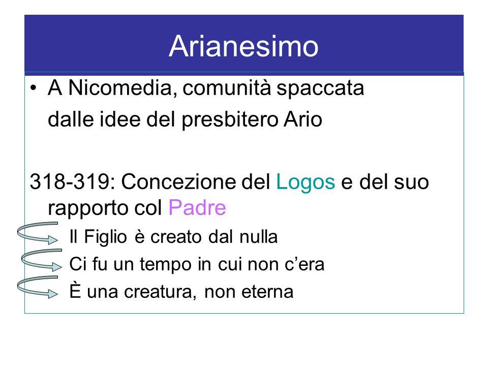 Arianesimo A Nicomedia, comunità spaccata dalle idee del presbitero Ario 318-319: Concezione del Logos e del suo rapporto col Padre Il Figlio è creato