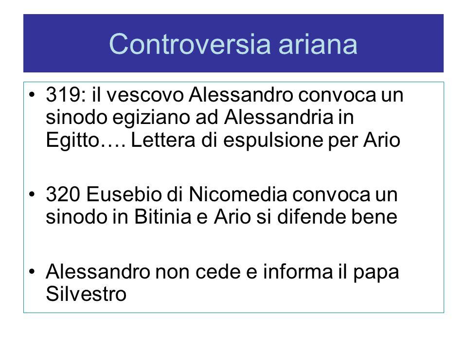 Controversia ariana 319: il vescovo Alessandro convoca un sinodo egiziano ad Alessandria in Egitto…. Lettera di espulsione per Ario 320 Eusebio di Nic