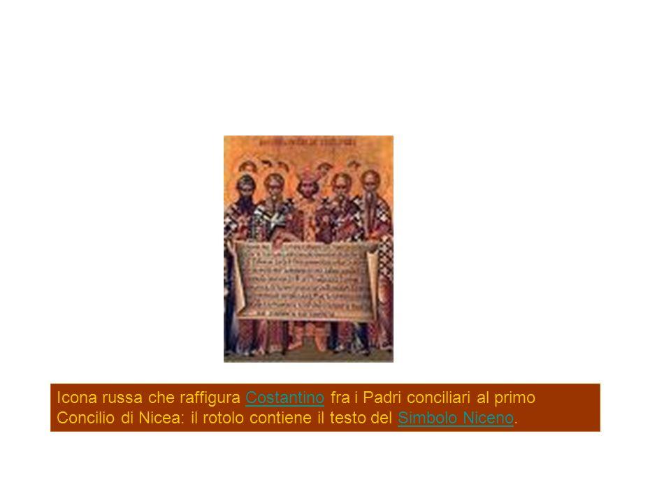 Icona russa che raffigura Costantino fra i Padri conciliari al primo Concilio di Nicea: il rotolo contiene il testo del Simbolo Niceno.CostantinoSimbo