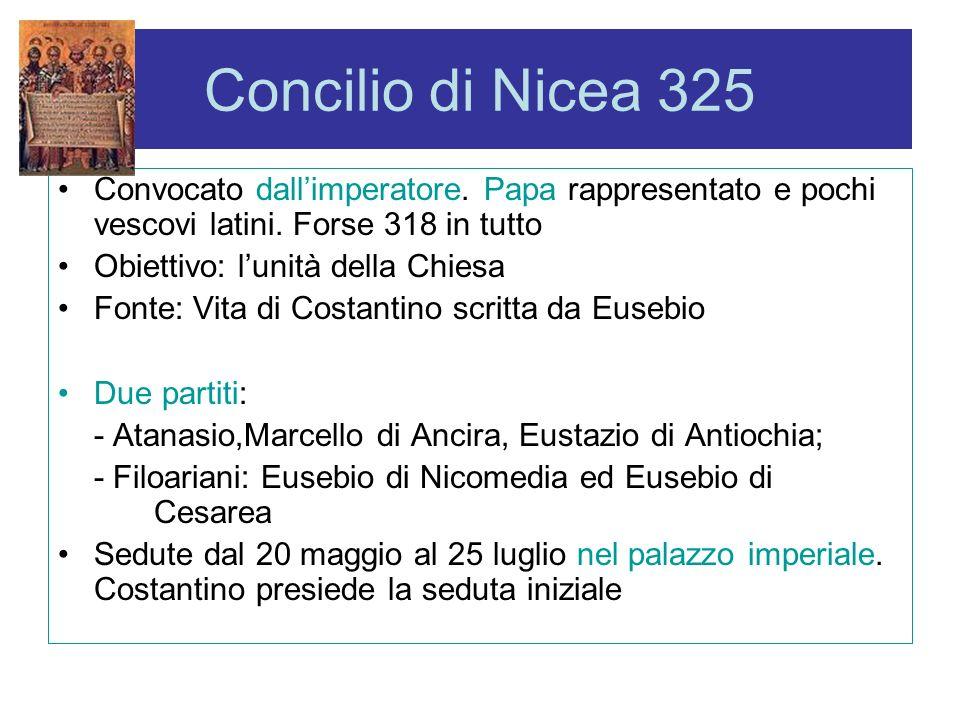 Concilio di Nicea 325 Convocato dallimperatore. Papa rappresentato e pochi vescovi latini. Forse 318 in tutto Obiettivo: lunità della Chiesa Fonte: Vi