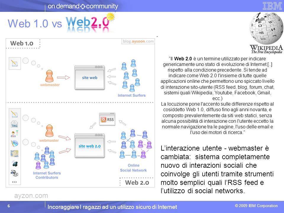 Incoraggiare I ragazzi ad un utilizzo sicuro di Internet © 2009 IBM Corporation 7 Social Network: top 15 Nome N.