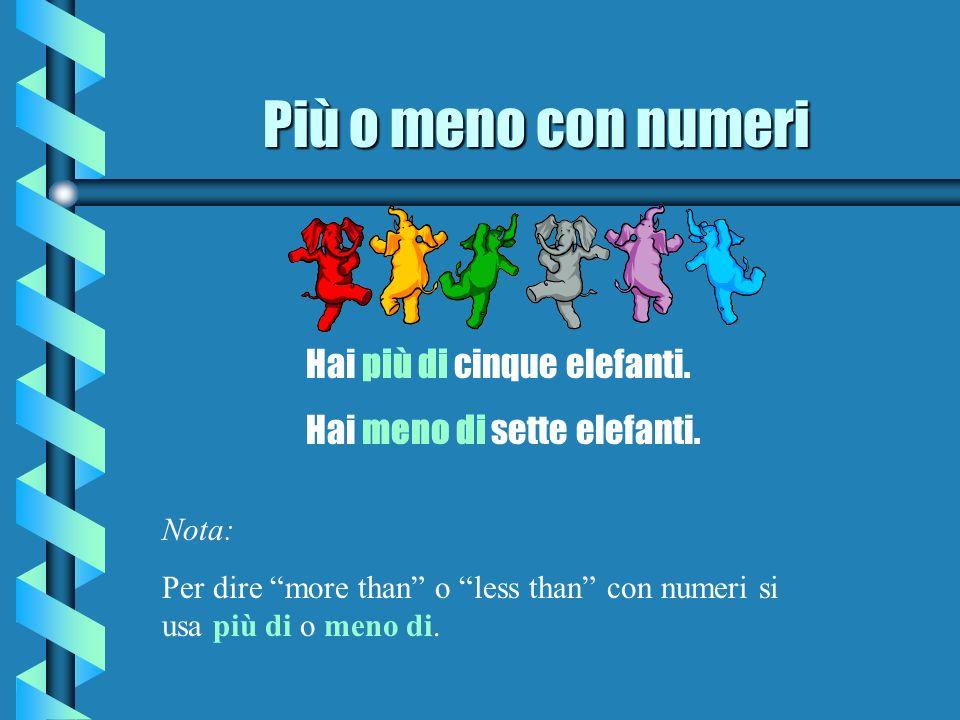 Più o meno con numeri Hai più di cinque elefanti. Hai meno di sette elefanti. Nota: Per dire more than o less than con numeri si usa più di o meno di.