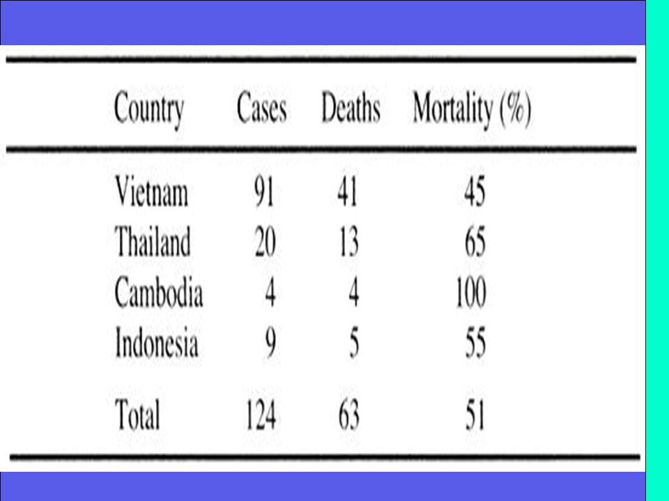 La letalità oscilla dal 33% al 100% a seconda dei gruppi di casi riportati e linsufficienza respiratoria è lesito finale Linteressamento multiorganico