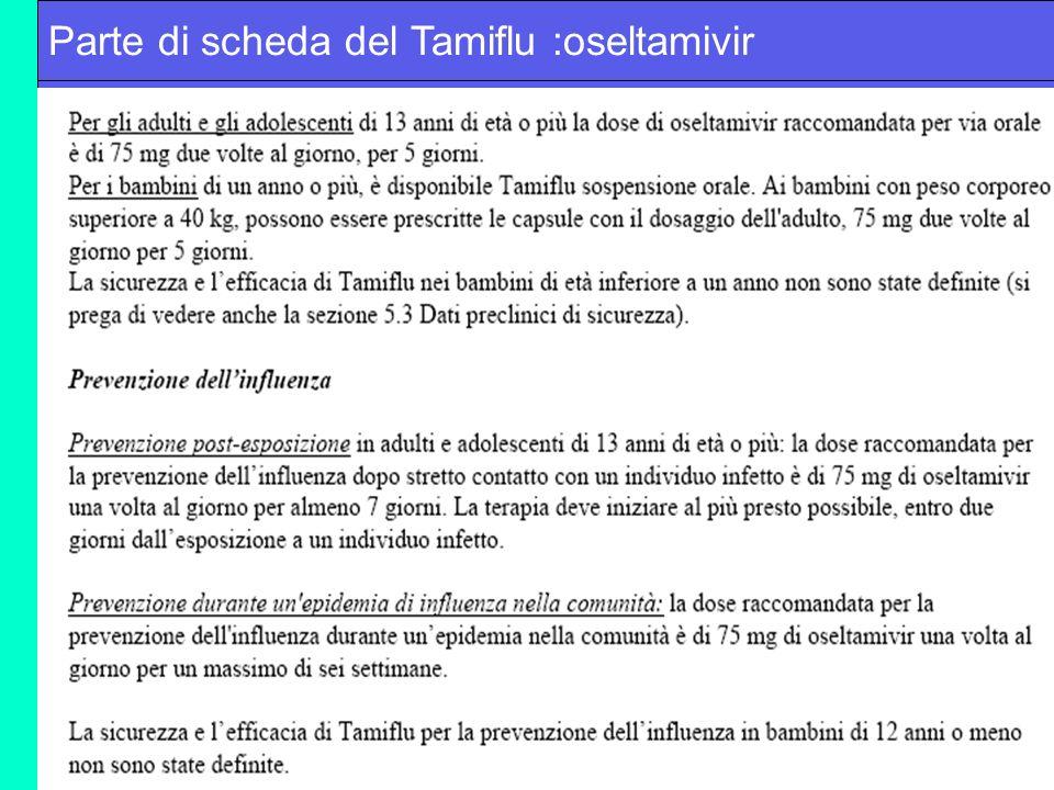 Parte di scheda del Tamiflu :oseltamivir