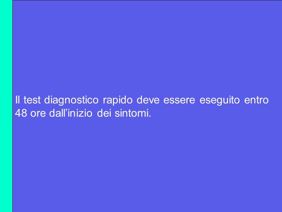 Il test diagnostico rapido deve essere eseguito entro 48 ore dallinizio dei sintomi.