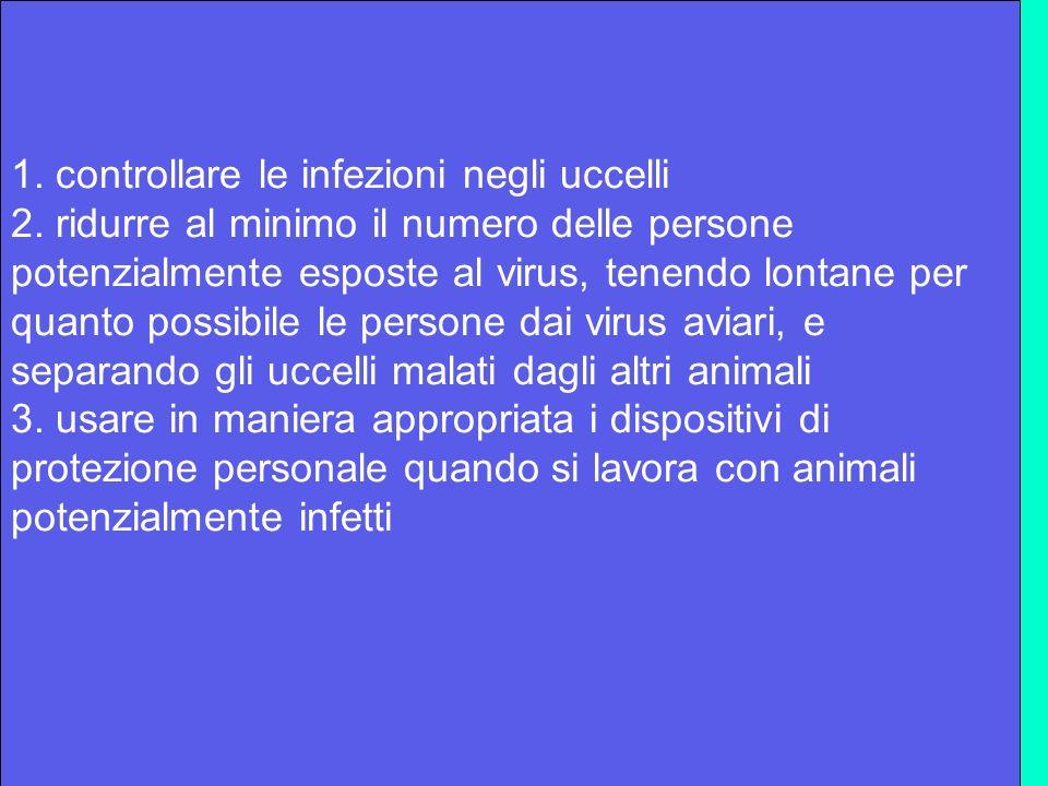 1. controllare le infezioni negli uccelli 2. ridurre al minimo il numero delle persone potenzialmente esposte al virus, tenendo lontane per quanto pos