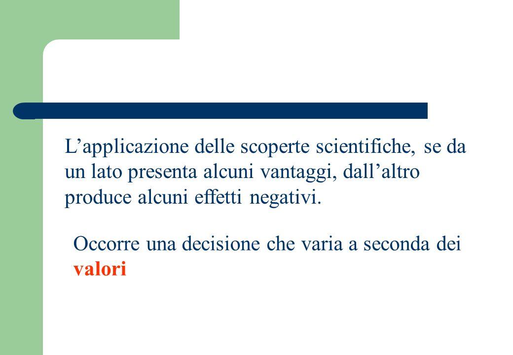 Lapplicazione delle scoperte scientifiche, se da un lato presenta alcuni vantaggi, dallaltro produce alcuni effetti negativi.