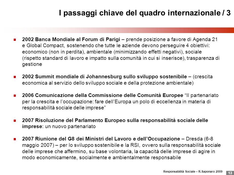 Responsabilità Sociale – R.Saponaro 2009 13 I passaggi chiave del quadro internazionale / 3 2002 Banca Mondiale al Forum di Parigi – prende posizione