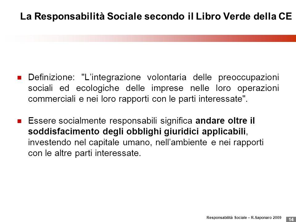 Responsabilità Sociale – R.Saponaro 2009 14 La Responsabilità Sociale secondo il Libro Verde della CE Definizione: