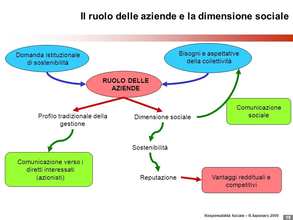 Responsabilità Sociale – R.Saponaro 2009 15 Il ruolo delle aziende e la dimensione sociale RUOLO DELLE AZIENDE Bisogni e aspettative della collettivit