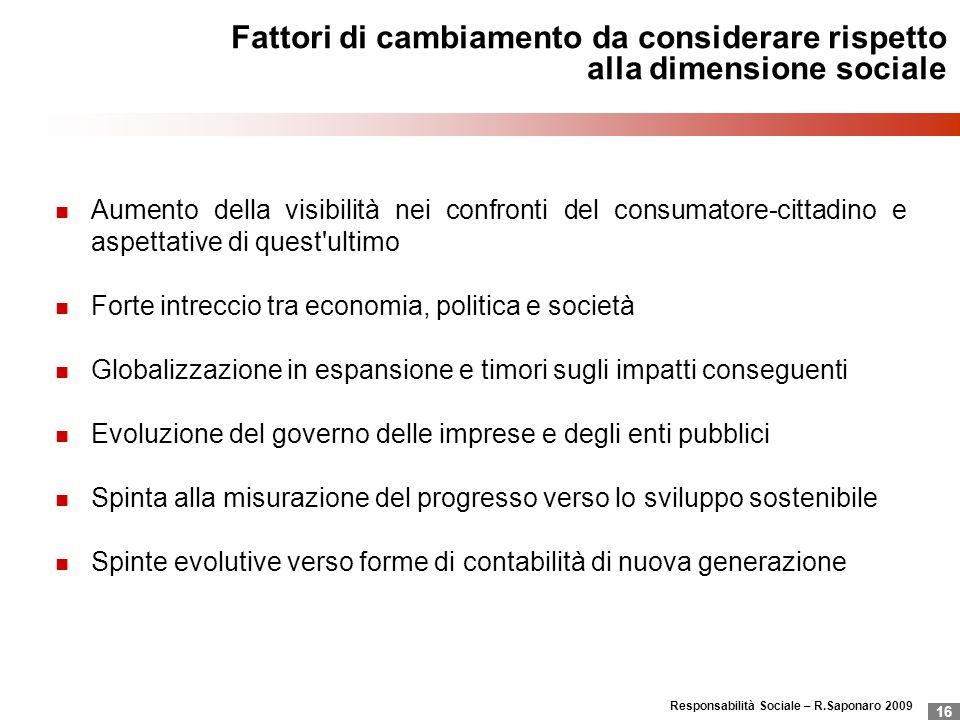 Responsabilità Sociale – R.Saponaro 2009 16 Fattori di cambiamento da considerare rispetto alla dimensione sociale Aumento della visibilità nei confro