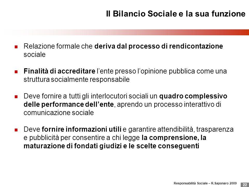 Responsabilità Sociale – R.Saponaro 2009 22 Il Bilancio Sociale e la sua funzione Relazione formale che deriva dal processo di rendicontazione sociale