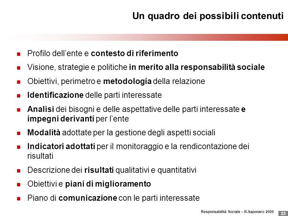 Responsabilità Sociale – R.Saponaro 2009 23 Un quadro dei possibili contenuti Profilo dellente e contesto di riferimento Visione, strategie e politich