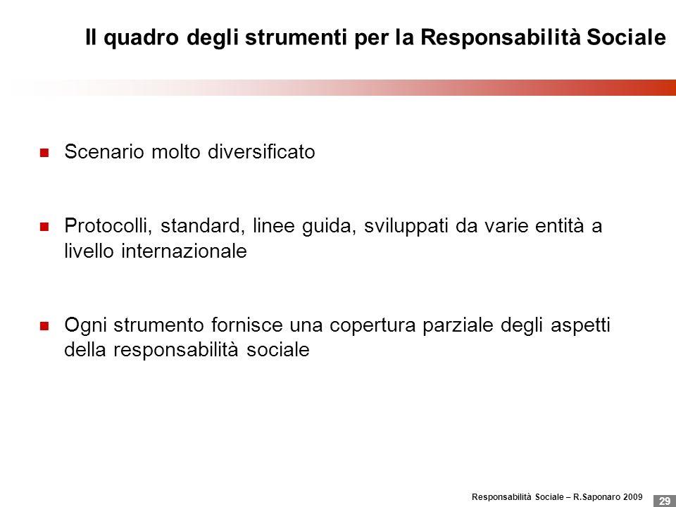 Responsabilità Sociale – R.Saponaro 2009 29 Il quadro degli strumenti per la Responsabilità Sociale Scenario molto diversificato Protocolli, standard,