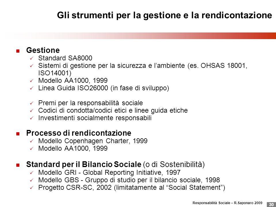 Responsabilità Sociale – R.Saponaro 2009 30 Gli strumenti per la gestione e la rendicontazione Gestione Standard SA8000 Sistemi di gestione per la sic