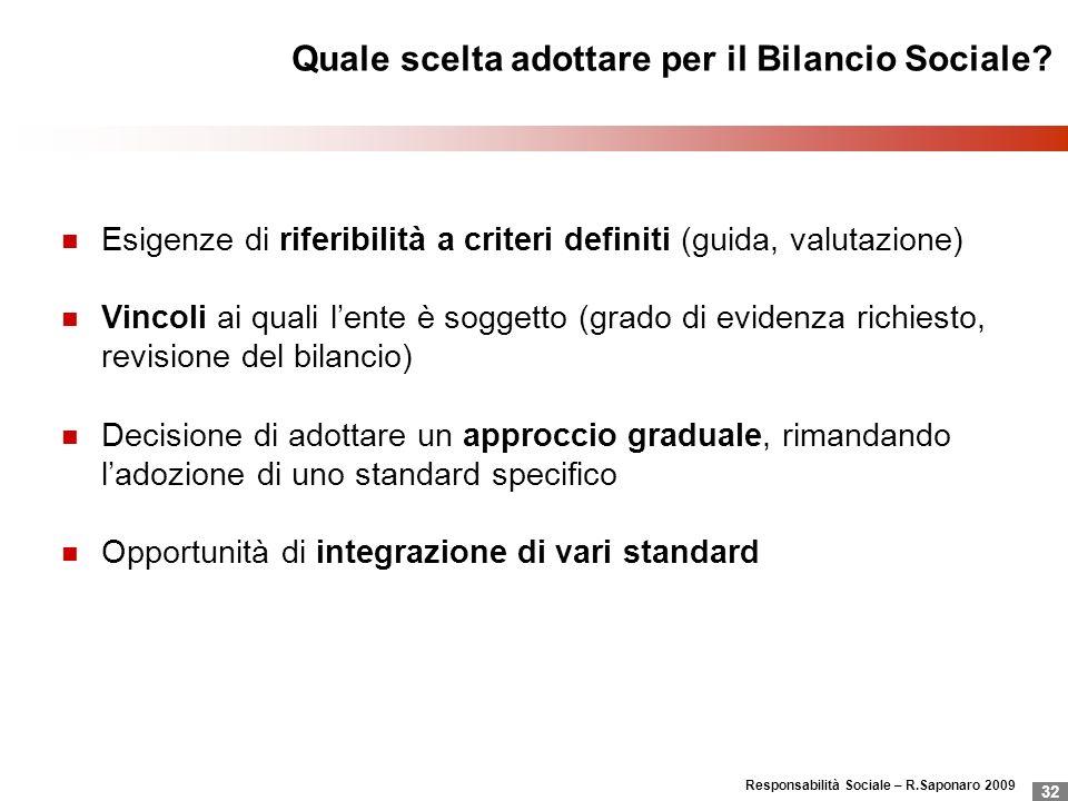 Responsabilità Sociale – R.Saponaro 2009 32 Quale scelta adottare per il Bilancio Sociale? Esigenze di riferibilità a criteri definiti (guida, valutaz