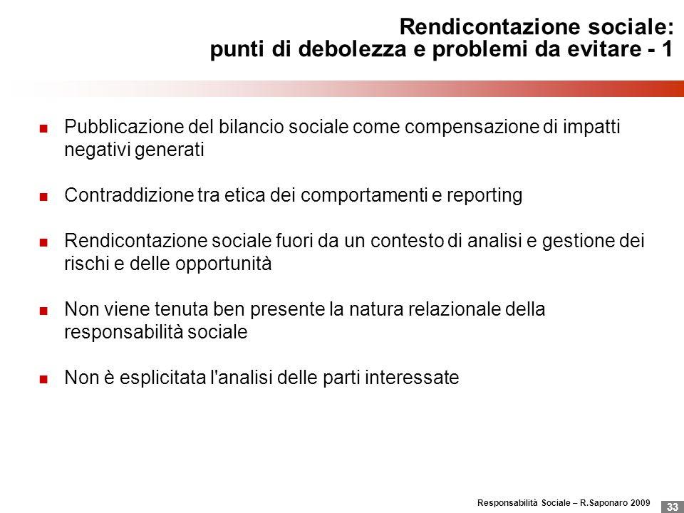 Responsabilità Sociale – R.Saponaro 2009 33 Rendicontazione sociale: punti di debolezza e problemi da evitare - 1 Pubblicazione del bilancio sociale c